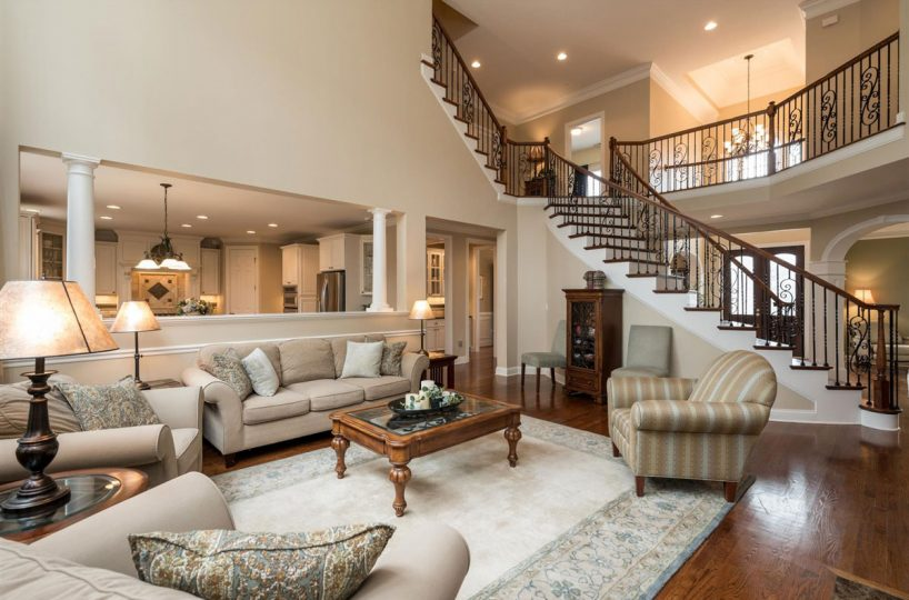Two Story family room of home for sale in Cary NC