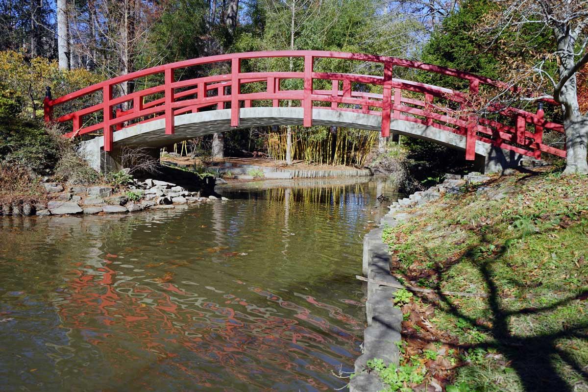 Duke Gardens - Red bridge in a Japanese tea garden